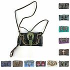Embellished CLUTCH PURSE WALLET Embroidered Die Cut Designs  Metal Accents