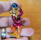 Vintage CLOWN BROOCH PIN Thick Enamel Gold Tone Figural Costume Jewelry