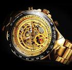 Winner Mens Automatic Mechanical Skeleton Gold Wrist Watch Steel Stainless Band