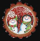 Very Happy Snowman Let It Snow GLITTER WOOD SLICE XMAS ORIGINAL VTG CARD IMG