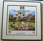 UNIVERSITY OF MICHIGAN BUGS BUNNY SIGNED BO SCHEMBECHLER FRAMED LITHOGRAPH TAZ