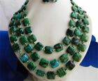 """3Strands 18-20"""" 14MM Malachite Green Baroque Freshwater Pearl Earring Necklace"""