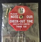 RARE LOT VINTAGE MOTEL HOTEL ANTIQUE CHECK OUT SIGN  2 KEY FOB KEYCHAINS