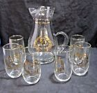 West Virginia Glass 50th Anniversary 6 glasses and Pitcher Gold Trim