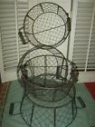 4 Primitive CHICKEN WIRE BASKET 2 Handle Vintage French Country Farm Style Lot