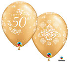 10 Pce Happy 50th Damask Anniversary Wedding Party Heart Gold 11 Latex Balloons