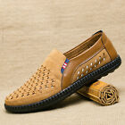 New Summer Mens Slip on Loafers Driving Leather Breathable Mesh Casual Shoes