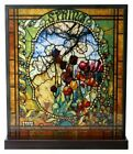 Louis Comfort Tiffany Four Seasons Spring Stained Glass Mosaic Art With Base
