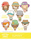 SUNNY KIT The Greeting Farm Rubber Stamp Stamping Craft Anya Ian Summer Beach