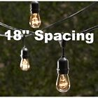 50 Bulbs Vintage Patio String Lights Edison Bulbs 18'' spacing - 80' Long