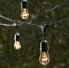 10 Bulbs Vintage Patio String Lights Black Cord Clear Glass Edison Bulbs 24'