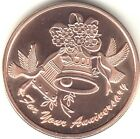 7th Copper Wedding Anniversary coin Doves Bells Engravable Medallion