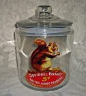 Vintage Style SQUIRREL BRAND SALTED PEANUTS Large GLASS COUNTER JAR Sealed Lid