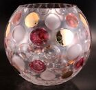 Borske Sklo Nemo Glass Ball Vase Rose Bowl Gold Cranberry Frosted Dots 1963