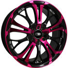 HD Spinout 17x7 4x100 4x1143 4x45 +40mm Pink Wheels Rims SO17700140BK P