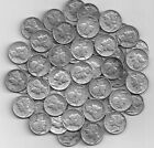 Full  Roll of 50 Silver Mercury DImes  G to AU Lots of 1942's   3.99 ship