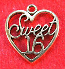 10 Pcs Tibetan Silver SWEET 16 HEART Charms Pendants Jewelry Findings H141