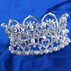 Vintage Wedding Bridal Crystal Baroque Queen Crown Tiara Headbands Silver C36