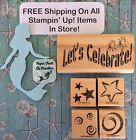 Stampin Up STARS SWIRLS Set+LETS CELEBRATE Phrase Wood Rubber Stamps PARTY SKY