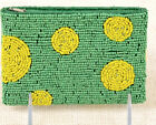 ABOUT COLOR Gone Dotty Glass Beads Coin Purse Small Bag NWT Green Yellow Circles