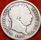 1816 Great Britain 1 Shilling Silver Foreign Coin Free S/H