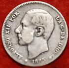 1885 Spain 1 Peseta Silver Foreign Coin Free S/H