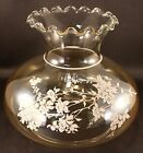 Vintage Hurricane Amber Glass Lamp Shade White Frosted Flowers GWTW 7 EXCELLENT