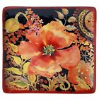 Certified International Watercolor Poppies Red/Black Ceramic 12.25-inch Square