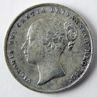 1857 Great Britain Victoria One Shilling Silver Fine Details Cleaned Coin A2670