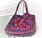 ETHNIC BOHO sequinned embroidered SILK FABRIC Bag 7 x 95 Fully Lined WINE