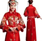 Chinese womens red wedding bridal embroidery floral Cheongsam dress suit vintage