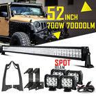 For Jeep Wrangler JK 52INCH 700W CREE LED Work Light Bar +4x 4 +Mount Bracket