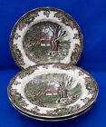Johnson Bros 3 Rimmed Soup Bowls FRIENDLY VILLAGE 1883 Stamp Stone Wall EUC