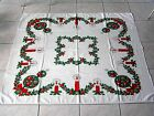 VINTAGE COTTON TABLECLOTH CHRISTMAS HOLLY WITH CANDLES RED GREEN