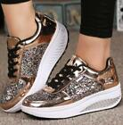 Women Low Heel Sequin Sneaker Glitter Fashion Lace Up Bling Casual Trainer Shoes