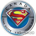 CANADA 2016 SUPERMAN 1 Oz SILVER COLOR COLORED MINTAGE 100 PCS WITH BOX