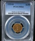1925-D $2.5 INDIAN GOLD COIN PCGS MS 61 1925 D $2.50 INDIAN QUARTER EAGLE