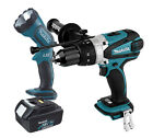 Makita BHP458 18v Cordless Li-Ion Combi with BL1830 Battery + BML185 Torch