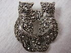 Vintage Faux Marcasite Cat Kitten Pin Brooch Entwined Tails Friends Silver Plate
