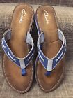Clarks Flo Cherrymore Womens Canvas Blue Thong Sandals sz 10M