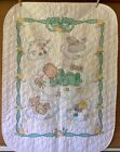 Cross Stitch Quilt Handmade Green Yellow Boy Girl Sleeping baby bear lamb 32x42