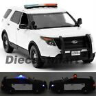 2015 FORD POLICE INTERCEPTOR WHITE W LIGHTS  SIREN 124 MOTORMAX 79535 DIECAST