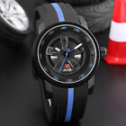 SHARK Men's Quartz Wheel Design Multi-layer Dial Sport Wrist Watch Black Blue