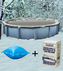 15 Round Above Ground Winter Pool Cover + 4x4 Air Pillow + Winterizing Kit