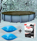 24 Round Above Ground Winter Pool Cover + 4x4 Air Pillows + Winterizing Kit