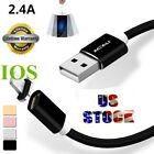 US 2.4A Quick IOS Charger Cable Magnetic Adapter Braided Date Sync Charging Cord