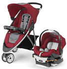 Chicco Viaro 3 Wheel Travel System Stroller w/ KeyFit 30 Car Seat Cranberry 2017