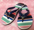 KATE SPADE New York Fifi Tropical Stripe FLIP FLOPS Navy Bow Size 8