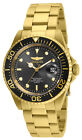 Invicta 24949 Men's Pro Diver Black Dial Yellow Gold Plated Steel Bracelet Dive