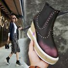 women's British wedge high heel ankle boots rivet vintage platform casual shoes